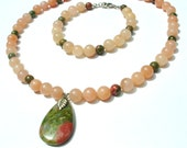 Pink aventurine quartz, unakite pendant necklace & matching bracelet set  CLEARANCE SALE