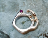 Sterling Silver Organic Ring with Two Red Rubies