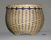 Hand Woven Cathead Basket - Navy and Tan