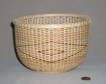 Nantucket Style Basket with Oak Base, Cherry Staves and Cane Weavers, Hand Woven