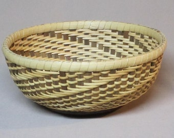 Swirled Candy Dish Basket, Oak Base, Cane Weavers, Hand Woven Nantucket Basket Style