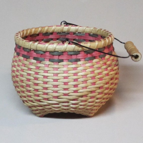 Small Hand Woven Basket with Wire Swing Handle, Pink and Green Accent Colors