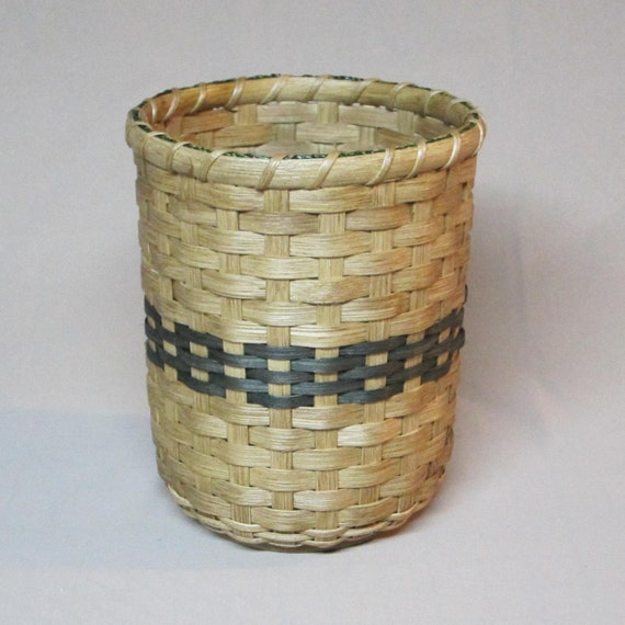 Hand Woven Utensil Basket with Wood Base and Green Accent Rows