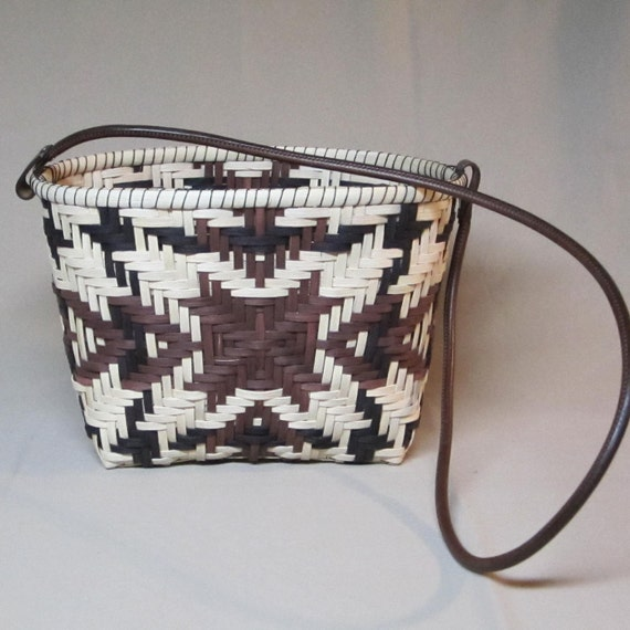 Twill Weave Tote Basket, Rectangular Base, Oval Top Opening, Tan, Brown and Black, Hand Woven Basket