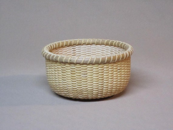 Small, Round Nantucket Lightship Style Basket, Hand Woven