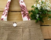 Upcycled Burlap Pleated Purse with Pink and Brown Amy Butler lining. FREE Shipping