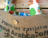 Upcycled Burlap Market Bag. Whimsical. Owls. Red. Teal. Green. Apples. 100% Organic Coffee Bean Bag. FREE Shipping.