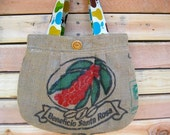 Upcycled Burlap Pleated Purse. Earth Day. Spring. Fashion. Apples. Pears. Red. Teal. Yellow. Green. Brown. Mothers Day. Gift Idea.