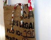 Upcycled Burlap & Tshirt Sling Bag. Eco Friendly. Fall Fashion. Tie Dyed Love. FREE Shipping.