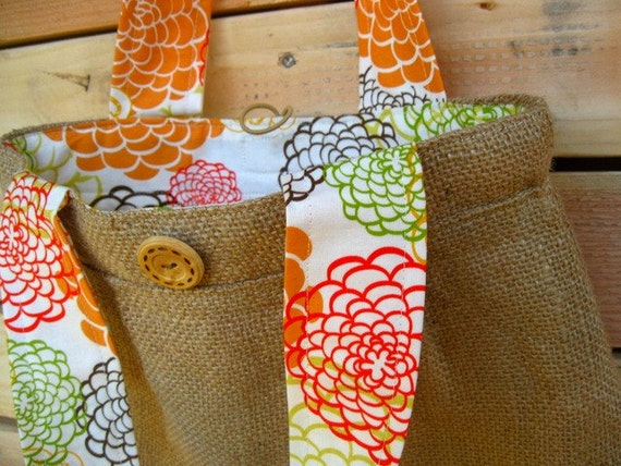 Upcycled Burlap Pleated Purse. Tangerine. Orange. Citrus. Spring. Floral. FREE Shipping.