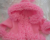 Pink Baby Sweater, loopy trim, pink hoodie, baby jacket. hooded baby coat, handknit 0-3mths