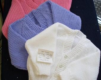 Baby Handknit baby cardigan   Classic style, SALE item. baby shower, baby gift, machine washable