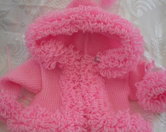 Baby Sweater, coat, loopy trim,  hoodie, girls, knit jacket. hooded baby coat, handknit 0-3mths, 3-6mths, 6-12mths, MADE to ORDER only,