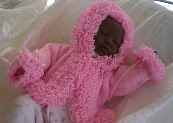 Baby sweater, baby cardigan  loopy trim baby hoodie,newborn/12 months DEPOSIT only listing CUSTOM.