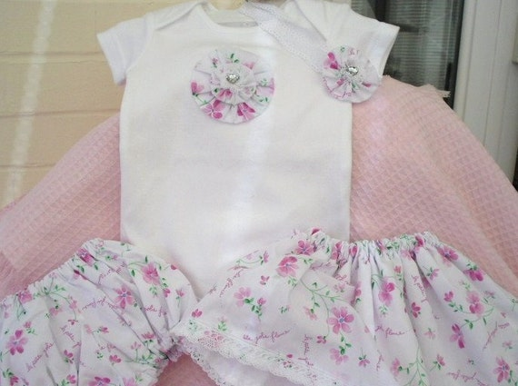Baby girl onesie, set, baby skirt, panties, bloomers, fully lined. headband, extra Free top.Easter, mix and match,OOAK Spring, Paris