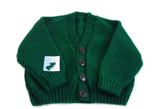 """Childs sweater. Boys sweater. Buttoned cardigan, toddler. Kelly green. Cardigan. Machine washable. Warm 20-22"""""""