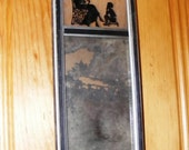 Antique Victorian Reverse Painting Silhouette on Glass Frame with Mirror