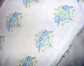 Vintage 1940's Hand Embroidered Pair Pillowcases Classic Vases Filled With Flowers