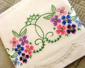 Vintage 1940's Hand Embroidered Pair Pillowcases Classic Garden Aster Flowers