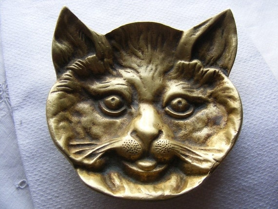 Antique Art Deco 1920's Solid Bronze Handmade Cat Face Soap or Trinket Dish