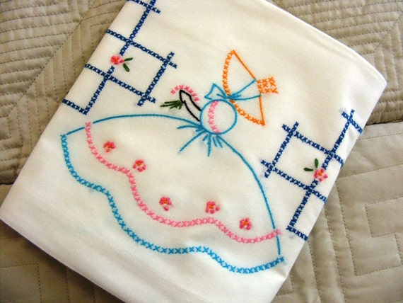 Vintage 1940's Hand Embroidered Pair Pillowcases Classic Southern Belle in the Garden