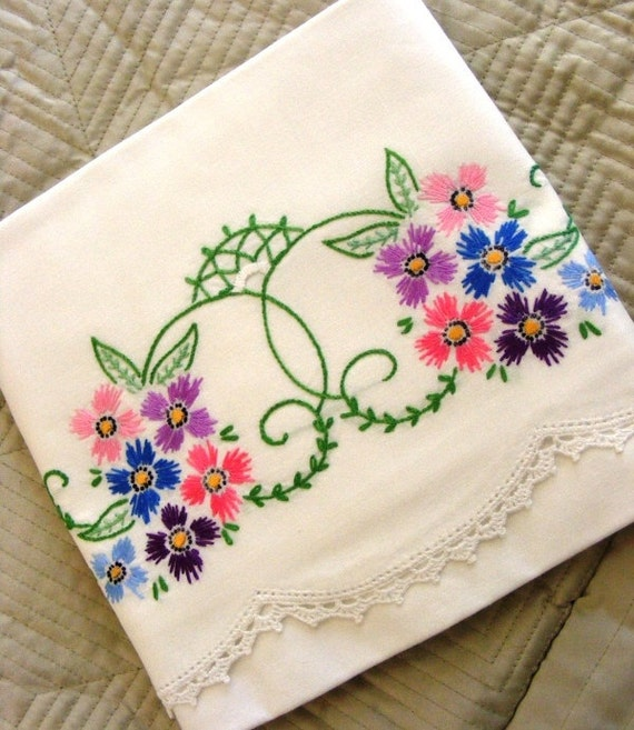 Vintage s hand embroidered pair pillowcases classic