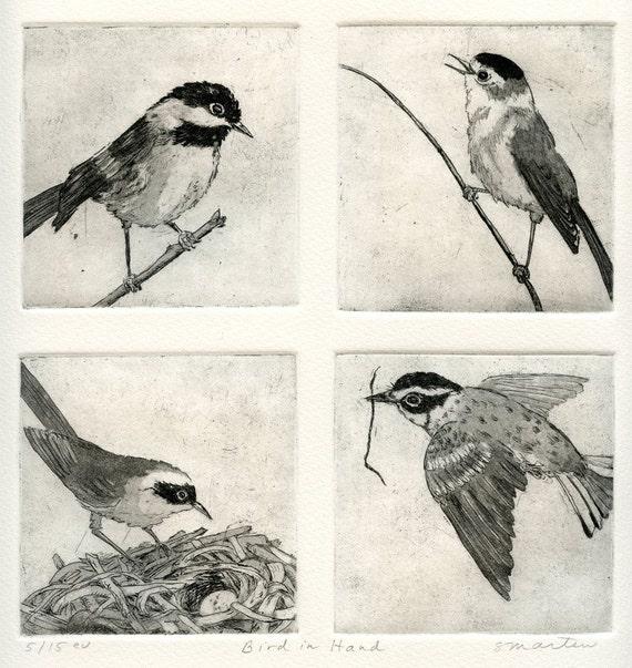 Bird in Hand, Fine Art Etching of Four Birds