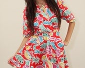 Vintage Mini Dress 80s Hipster Red Summer with Pockets and matching belt