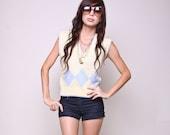 Vintage Sweater 80s Indie Hipster Argyle Pastel Sleeveless Top
