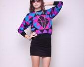 Vintage Sweater 80s Glam Indie Geometric Neon Top