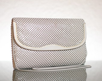 Vintage Purse 80s White Chain Metal Clutch with Gold Detail - Elka Brand