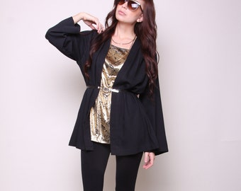 Large / XL - Vintage Shirt with Attached Jacket - 80s Glam Gold and Black Top