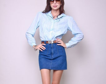 Large - Embellished Vintage Blouse 70s Hipster Boho Light Blue Shirt