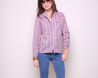 Small / Medium - Vintage Cowgirl - Cowboy Shirt 70s Indie Boho Plaid Blouse