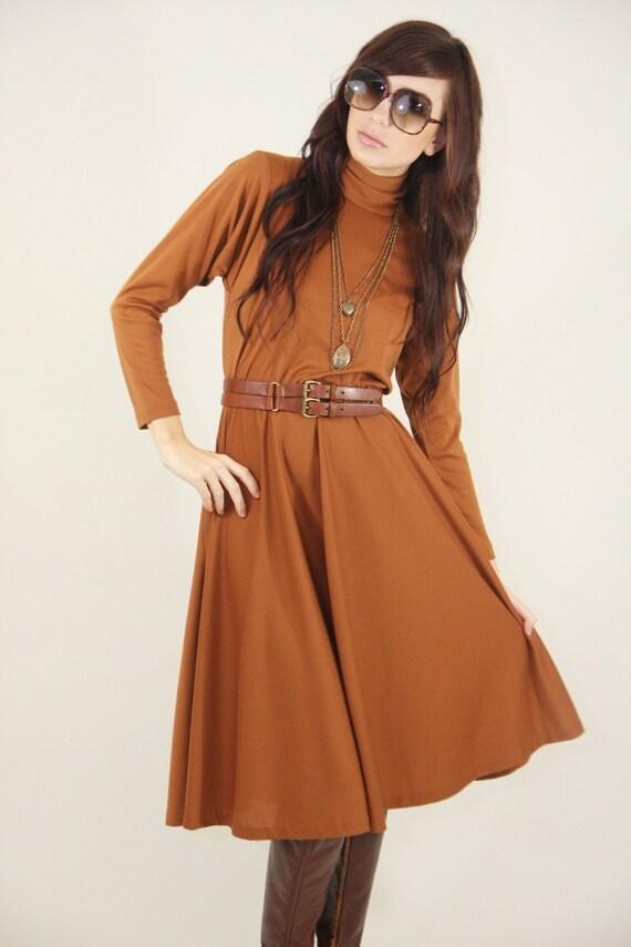 Vintage Dress 80s Hippy Boho Brown With Pockets And Belt