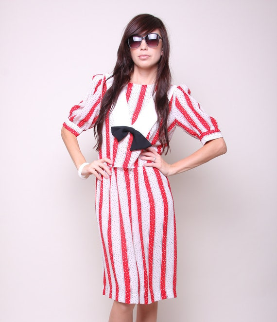 Vintage Dress 80s Indie Hipster Red and White Striped Polka Dot Dress with Bow