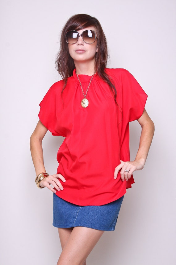Vintage Blouse 80s Hipster Mod Red Shirt