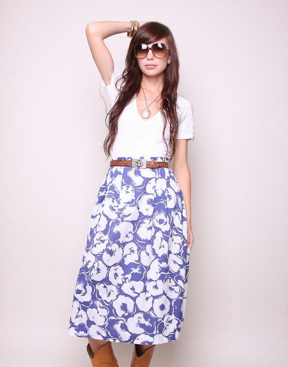 Vintage High Waisted Skirt 80s Indie Boho Blue and White Floral Skirt