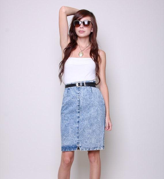 Vintage High Waisted Skirt 80s Indie Glam Acid Wash Pencil Skirt