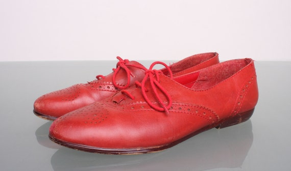 Vintage 80s Oxfords Red Leather Womens Lace Up Jazz Shoes