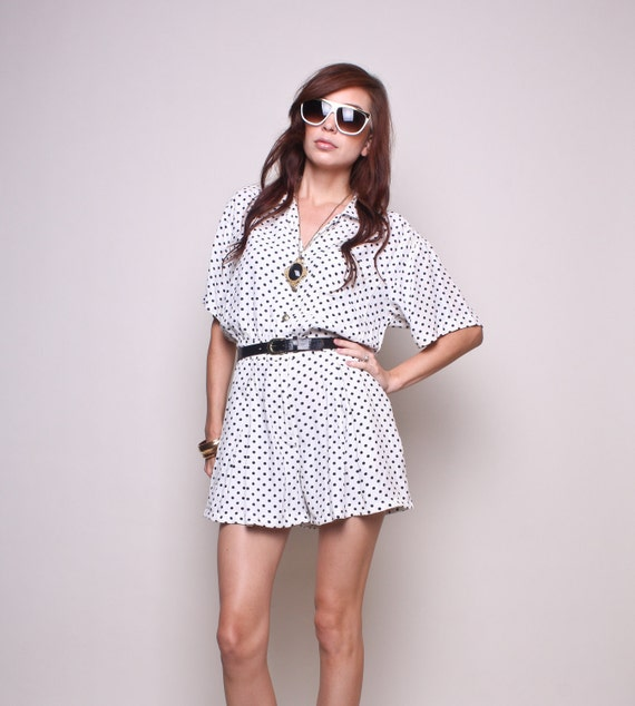Vintage Jumper 80s Hipster Indie Black and White Polka Dot Shorts Romper with Pockets