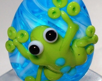 Green Frog Lampwork Bead