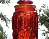 1960s LE Smith Red Orange Amberina Canister in Moon and Stars Pattern Medium Size