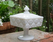 Westmoreland Glass Co. Old Quilt TALL Covered Candy Dish in Milk Glass - Oak Hill Vintage