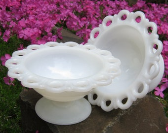 Medium Size - Pair of White Milk Glass Open Lace Edged Compotes - Old Colony - Oak Hill Vintage