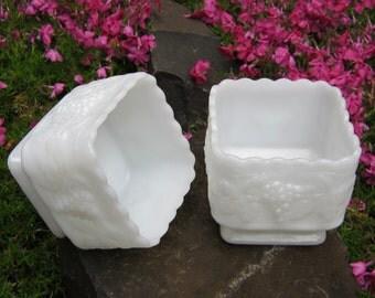 SALE - Square Vases White Milk Glass Planters by Anchor Hocking - Wedding Decor - Table Centerpieces - Oak Hill Vintage