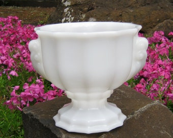 White Milk Glass Urn Planter With Handles by E O Brody - Wedding Centerpiece - Oak Hill Vintage