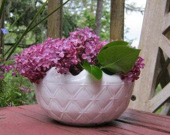 White Milk Glass Quilted Bowl With Crimped Edge - Oak Hill Vintage