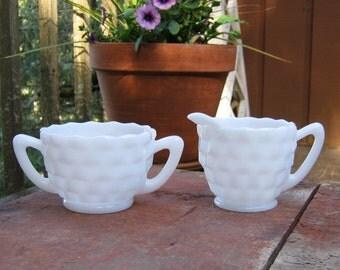 Milk Glass Cream and Sugar in Cube Pattern - Oak Hill Vintage