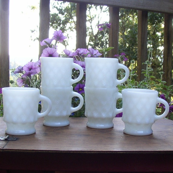 Six Anchor Hocking Kimberly Diamond Mugs in Milk Glass